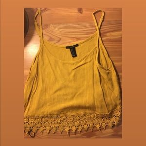 Forever 21 Yellow Crop Tank Top